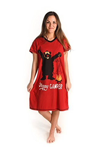 LazyOne Damen Happy Camper Nachthemd V-Ausschnitt
