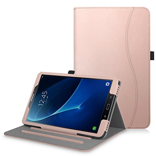 Fintie Samsung Galaxy Tab A 10.1 Case (2016 NO S Pen Version), [Corner Protection] Multi-Angle Viewing Stand Cover with Packet Auto Sleep/Wake for Tab A 10.1 Tablet (SM-T580/T585/T587), Rose Gold