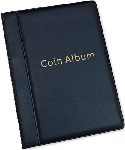 Coin Storage Album - Rare Coin Holders Book - Coins Collection for Collectors (Black, 120 Coin Holders)