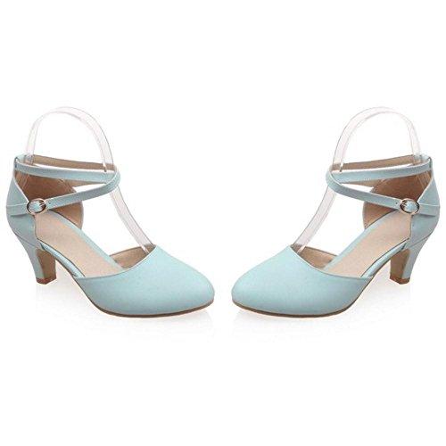 Heels TAOFFEN Ankle Women's Shoes Strap Court Blue RSvB8R
