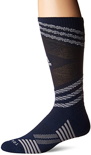 adidas Speed Mesh Basketball/Football Team Crew Socks (1-Pack), Collegiate Navy/White/Black/Light Onix, Medium