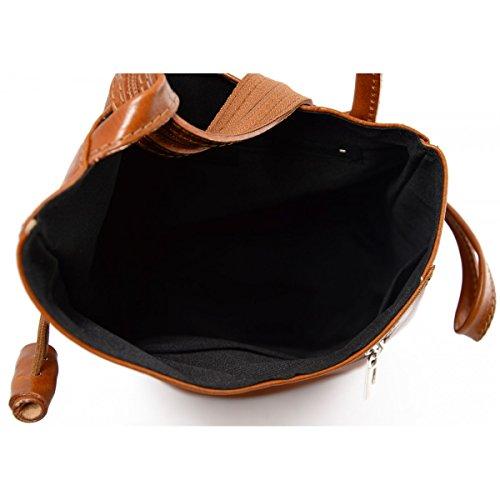 Damen Echtes Leder Rucksack Mit Träger Und Reißverschluss- Aniuk Farbe Cognac - Italienische Lederwaren - Rucksack