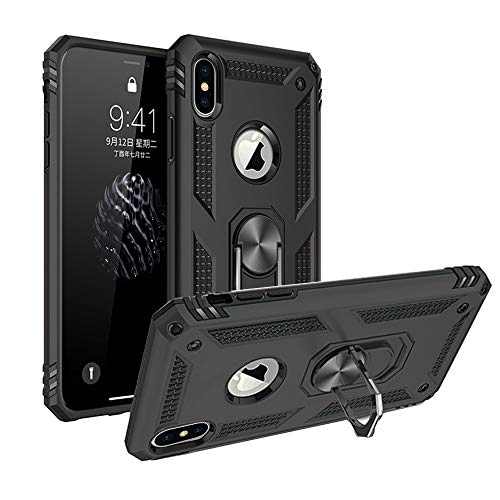 Xmax case Compatible with iPhone Xs max Protective case Kickstand Armor xphone xmaxs xsmax Heavy Duty Cover i Cell Phone Skin fit Magnetic car Mount Bumper 6.5 inch (Black) ()