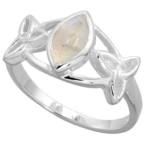 Sterling Silver Celtic Triquetra Knot Ring with Natural Moonstone 3 8 inch wide, sizes 6 – 10