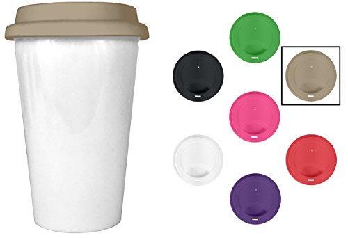 Insulated Ceramic Travel Coffee Cup - 10 oz Glossy White Double Walled Ceramic with Tan Silicone Lid - BPA Free - Best Value