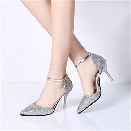 YE Damen Ankle Strap Glitzer Pumps Spitze Stiletto High Heels mit Riemchen und 9cm Absatz Elegant Schuhe Silber