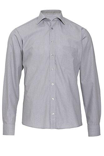 HATICO Regular Fit Hemd Langarm New Kent Kragen Streifen schwarz