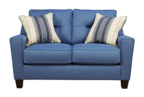 Benchcraft – Forsan Nuvella Contemporary Upholstered Loveseat – Blue