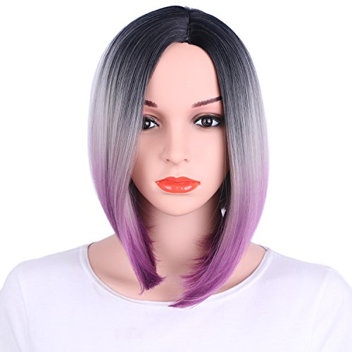 Beauty : AisiBeauty Synthetic Bob Wig Short Straight Hair Wigs for Women Shoulder Length Purple Ombre Wig 3 Tone Color Dark Roots Kanekalon Fiber
