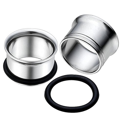 Tunnels Single Flare Flesh (EG GIFTS Stainless Steel Single Flare Tunnel Plugs with O Ring -7/16 Inch (11mm))