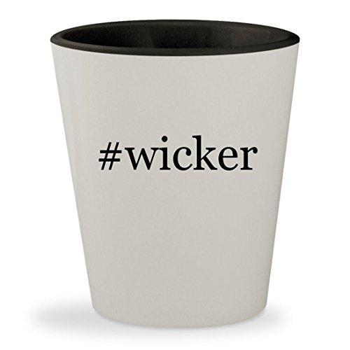 #wicker - Hashtag White Outer & Black Inner Ceramic 1.5oz Shot Glass