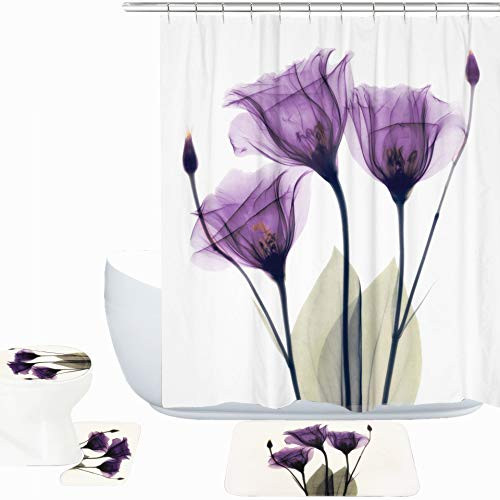 Amagical Purple Lotus Decor 16 Piece Bath Mat Set Shower Curtain Set Lotus Flower Pattern Decorative Design Bathroom Mat + Contour Mat + Toilet Cover + Shower Curtain + Hooks