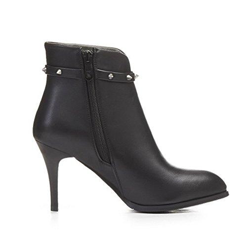 AgooLar Damen Reißverschluss Spitz Zehe PU Niedrig-Spitze Stiefel mit Schnalle, Rot, 36