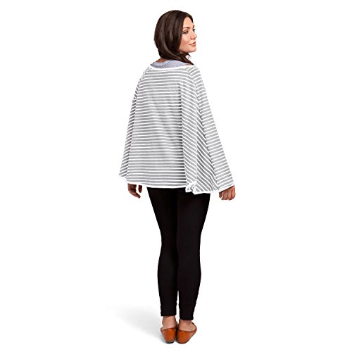 360° FULL COVERAGE Nursing Cover for Breastfeeding - Luxurious, Soft Breathable Cotton in Poncho Style (Gray Stripe) by EN Babies (Image #8)