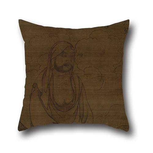Pillow Shams 16 X 16 Inch / 40 By 40 Cm(twice Sides) Nice Choice For Relatives,living Room,christmas,indoor,her,pub Oil Painting Inscription By Issan Ichinei - Bodhidarma Under Pine Tree