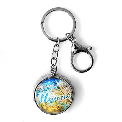 Hawaii Beer Bottle Cap Shaped with Can Opener Hawaii Print Keychain in Hawaii Beach (Best Beer In Hawaii)