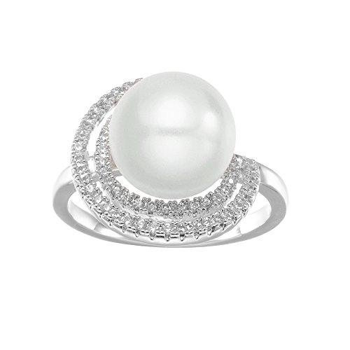 KIVN Fashion Jewelry Elegant CZ Cubic Zirconia Wedding Engagement Pearl Rings for Women (White, 7)