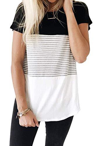 ALIBIZIA Women's Summer Short Sleeve Triple Color Block Stripe T-Shirt Top M Black