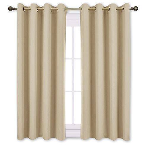 NICETOWN Bedroom Curtains Room Darkening Draperies - Cream Beige Room Darkening Curtains/Panels for Bedroom, Grommet Top 2-Pack, 52 x 45 Inch Long, Thermal Insulated, Privacy (Beige Window Curtain)