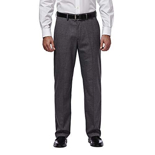 J.M. Haggar Men's Premium Performance Stretch Stria Plain Front Suit Separate Pant, Dark Heather Grey, 38Wx32L