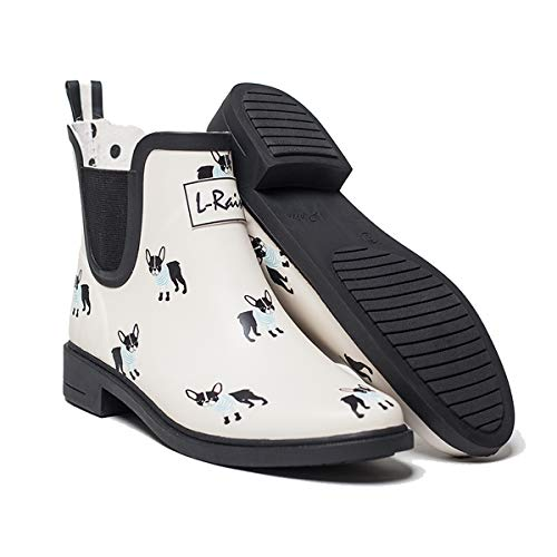 LR L-Rain Women's Short Rain Boots Waterproof and Anti-Slipping Rain Shoes Chelsea Booties-White French Bulldog-Size 8