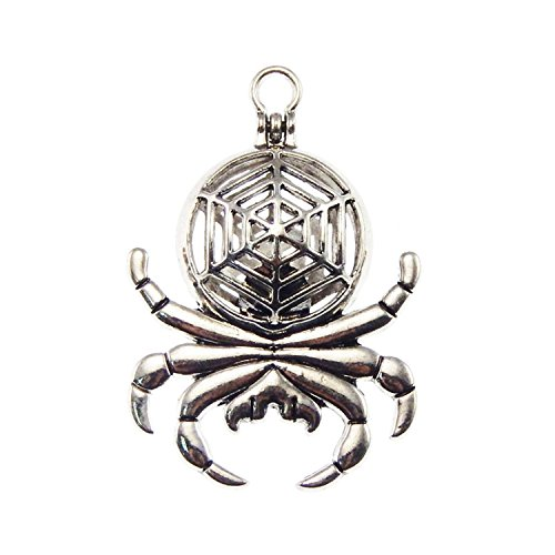 Wholesale Spider - Julie Wang 6pcs Silver Spider Diffuser Locket Pearl Stone Gem Beads Cage Pendant With magnetic closure