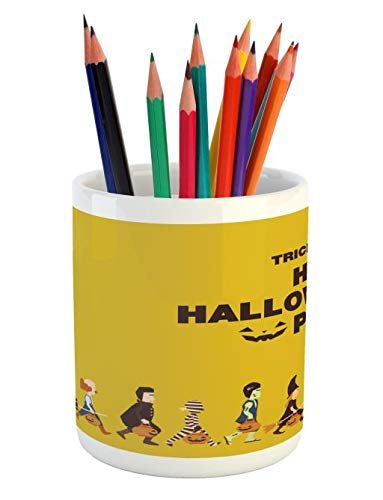 Lunarable Halloween Pencil Pen Holder, Trick or Treat Halloween Party Pirate Clown Dracula Mummy Frankenstein Witch, Printed Ceramic Pencil Pen Holder for Desk Office Accessory, Multicolor -