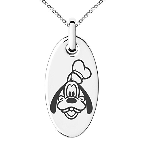 Stainless Steel Disney Goofy Engraved Small Oval Charm Pendant Necklace Goofy Jewelry