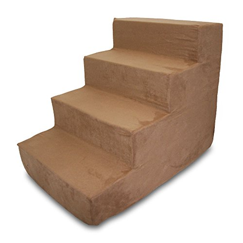 Best Pet Supplies 4-Step Pet Stairs, 24 by 15 by 19-Inch, Light Brown Suede by Best Pet Supplies, Inc.