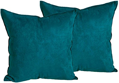 2-Pack Cushion Covers New Design Solid Color Comfortabal Faux Suede Teal Decorative Throw Pillow Covers 18 x 18 inches Pillowcases for Sofa, Couch, Living Room, Bedroom, Car, Office - Suede Throw Chenille