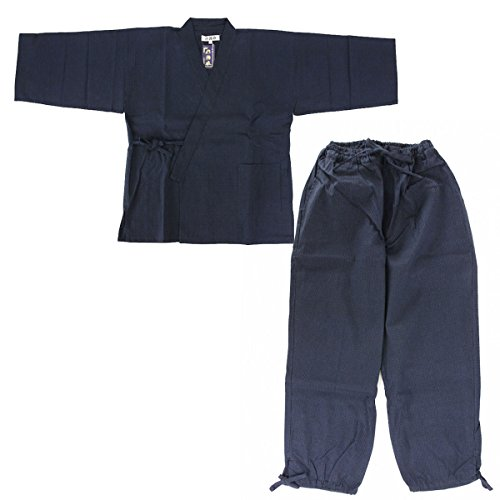 Edoten Men's Japan quilted clothes Stitched weave Sasiko Samue NV (Male Japanese Clothing)