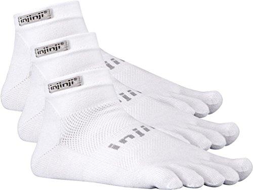 3 Pack Injinji Run Lightweight Mini-Crew Performance Sport Socks h (White, Medium) - Injinji Performance Socks