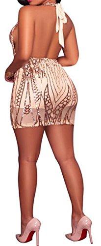 Sexy Dos Nu Féminin Cromoncent Col V Profond Sequin Paillettes Clubwear Moulante Champagne Robe Midi