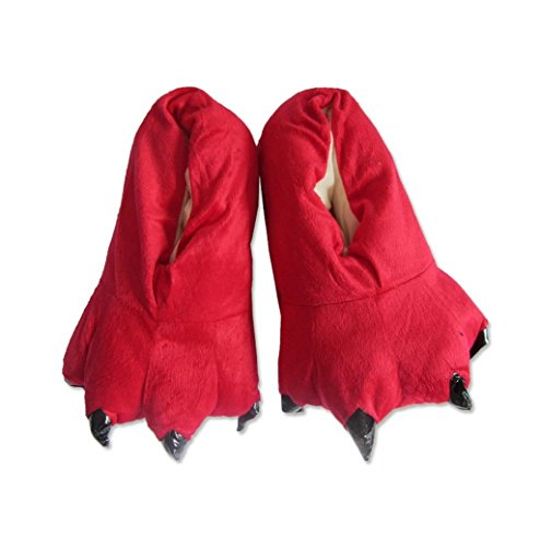 MiziHome Unisex Soft Paw Claw Home Slippers Animal Costume Shoes Red M by MiziHome (Image #1)