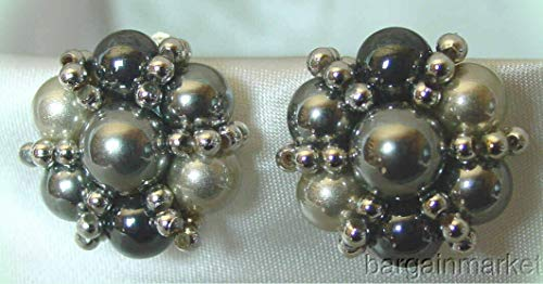 (Vintage Silver Grey Seed Bead Cluster Knot Clip Earrings For Women)
