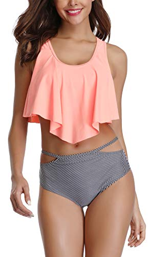 (Orange Stripped Two Piece Ruffled Flounce Crop Bikini with Print Cut Out Bottom)