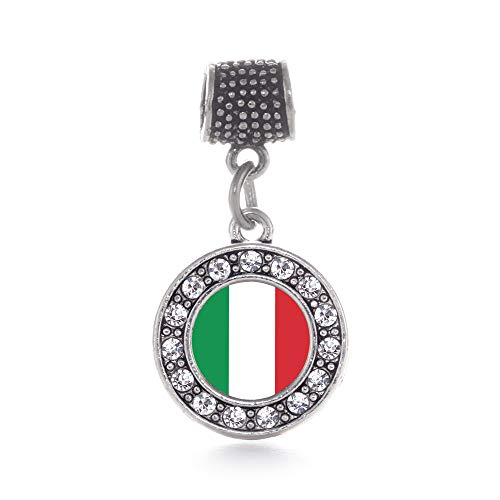 (Inspired Silver - Italian Flag Memory Charm for Women - Silver Circle Charm for Bracelet with Cubic Zirconia Jewelry )
