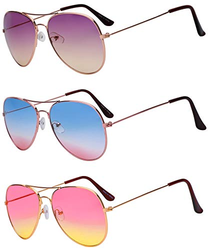 3 Pairs Aviator Sunglasses 2 Tone Assorted Mix Color Purple Blue Pink ()