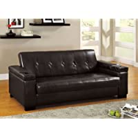 Furniture of America Leatherette Futon Sofa with Hidden Storage, Espresso