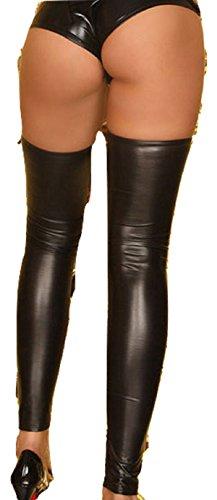 Nuevas señoras negro aspecto mojado Muslo alta Footless Medias disfraz Wear Club Wear lencería ropa interior tamaño M 1012