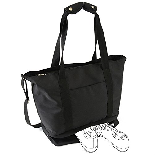 roseta 2Rooms, Gym Tote Bag with Shoe Compartment , Flight , Fitness(Large, Black) by roseta