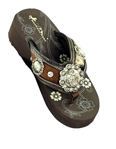 Montana West Crossed Gun Pistol Concho Hair on Hide Flip Flops Sandals Jp Brown (8)