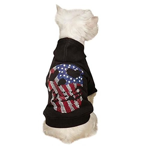 Zack & Zoey America's Pup Skull Hoodie, Small/Medium, Black