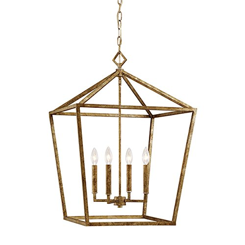 (Millennium 3254-VG Four Light Pendant, Gold, Champ, Gld Leaf)