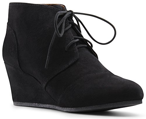 Black Child Boots (Marco Republic Galaxy Girls Kids Childrens Wedge Boots - (Black) - Big Kid 4)