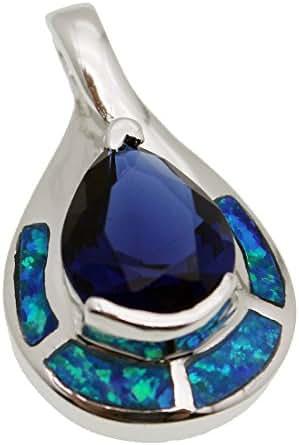 Birthstone Sterling Silver Pendant Blue Opal Ocean Sapphire Jewelry
