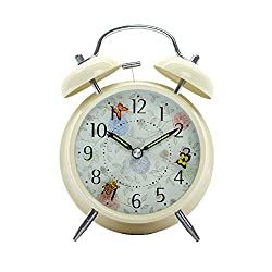Innolife 4 Quiet Non-ticking Silent Quartz Analog Retro Vintage Bedside Twin Bell Alarm Clock With Loud Alarm and Nightlight (Butterflies)