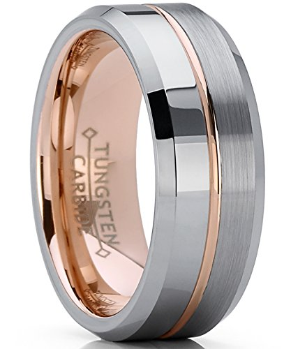 Metal Masters Co. Men's Women's Rose Tone Tungsten Carbide Wedding Band Engagement Ring, Comfort Fit 8mm 10