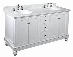 Kitchen Bath Collection KBC222WTWT Bella Double Sink Bathroom Vanity with Marble Countertop, Cabinet with Soft Close Function and Undermount Ceramic Sink, White/White, 60""