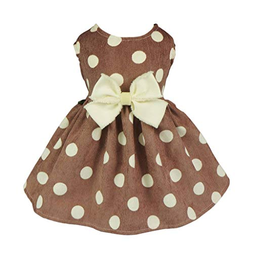 Fitwarm Pet Clothes for Dog Dresses Cat Apparel Polka Dot Lightwight Velvet -